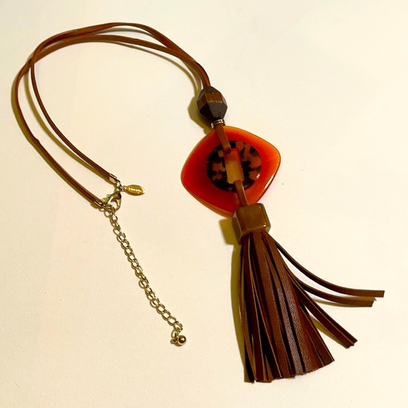 Chico's faux leather statement necklace